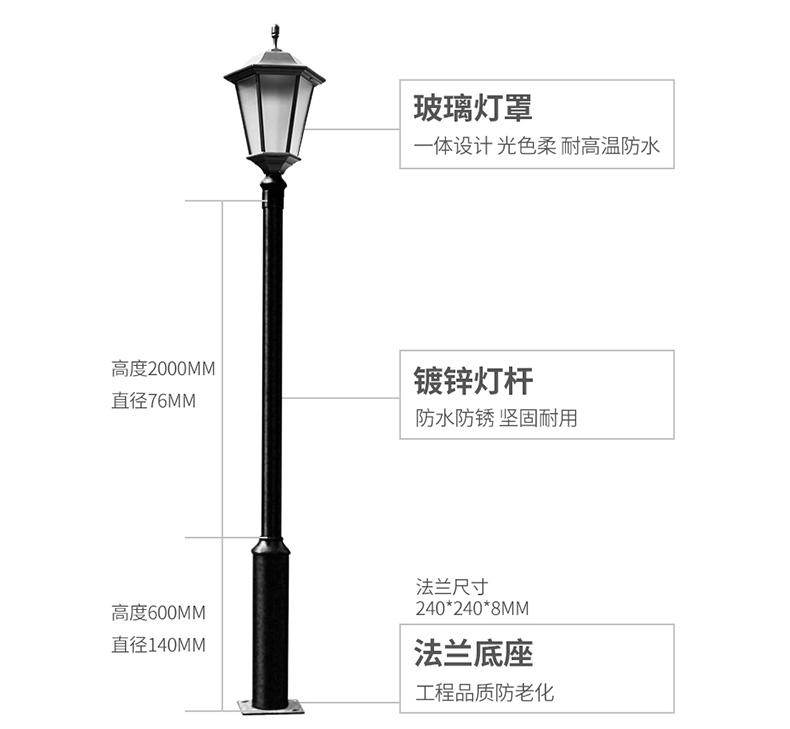 庭院灯灯杆厚度